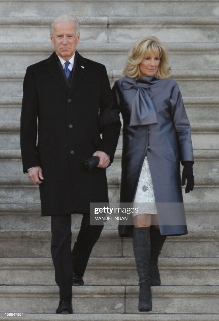US Vice President Joe Biden and his wife Jill Biden depart from the US Capitol after the 57th Presidential Inauguration ceremonial swearing-in on January 21, 2013 in Washington, DC.