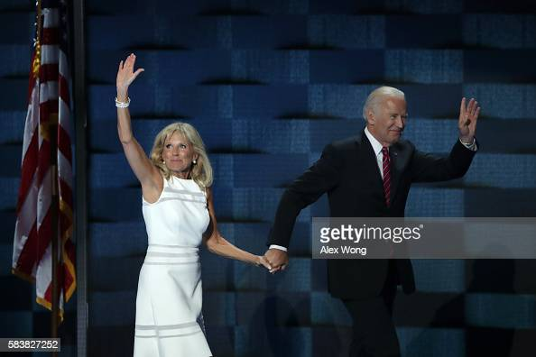 Vice President Joe Biden and his wife Jill Biden wave to the crowd after delivering remarks on the third day of the Democratic National Convention at...