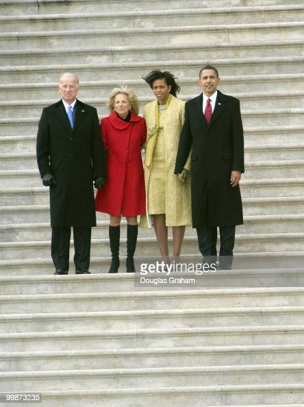 Vice President Joe Biden and his wife Jill First lady Michelle Obama and President Barack Obama after the 56th inauguration on the East Front of the...
