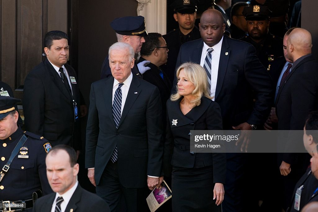S Vice President Joe Biden and his wife Jill left the church following the funeral of slain NYPD officer Rafael Ramos at the Christ Tabernacle Church...