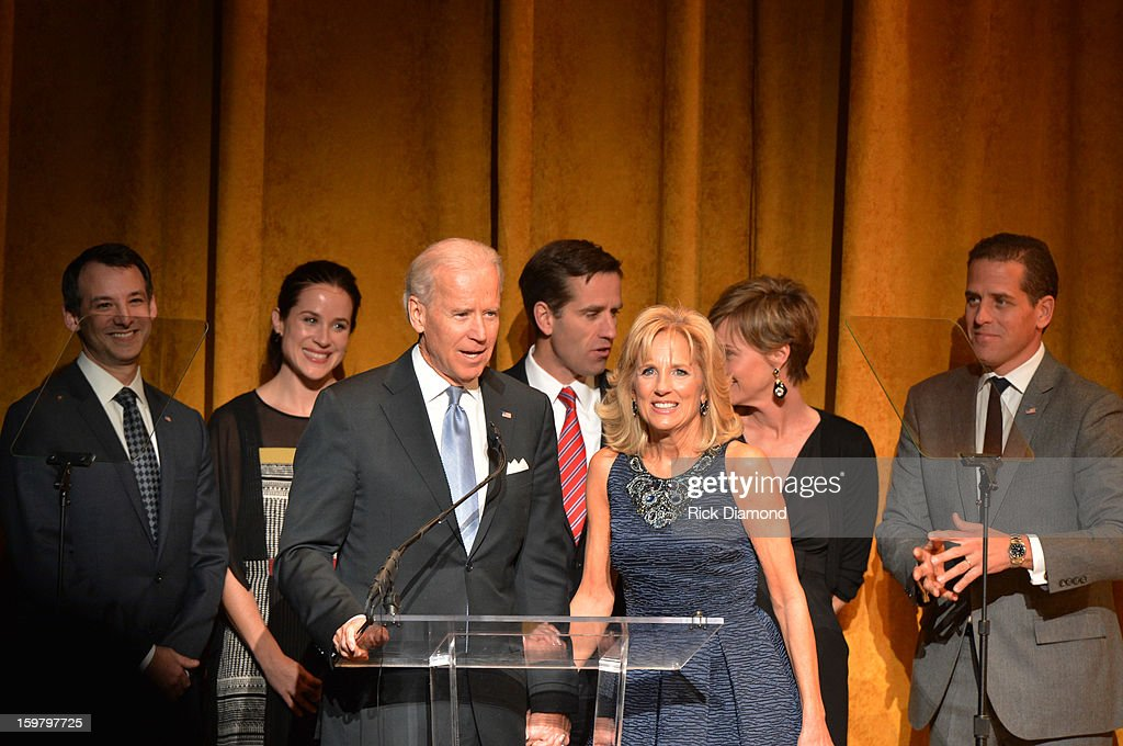 U.S. Vice President Joe Biden and <a gi-track='captionPersonalityLinkClicked' href=/galleries/search?phrase=Jill+Biden&family=editorial&specificpeople=997040 ng-click='$event.stopPropagation()'>Jill Biden</a> (C) speak at Latino Inaugural 2013: In Performance at Kennedy Center at The Kennedy Center on January 20, 2013 in Washington, DC.