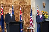 US Vice President Joe Biden and New Zealand Prime Minister John Key take part in a press conference after their bilateral meeting at Government House...