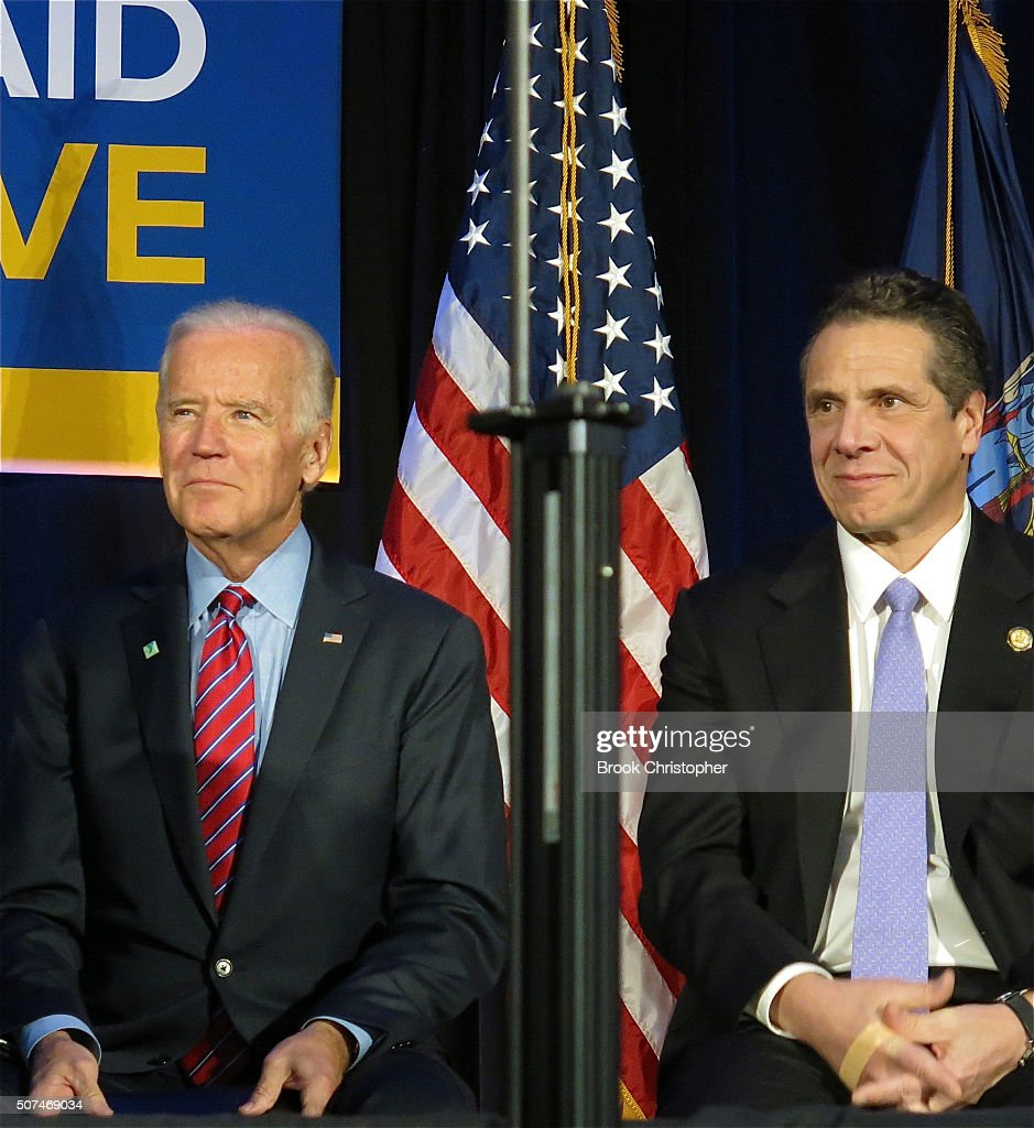U.S. Vice President Joe Biden and NY Governor Andrew Cuomo speak at a rally for paid family leave and deliver remarks on economy on January 29, 2016 in New York City.