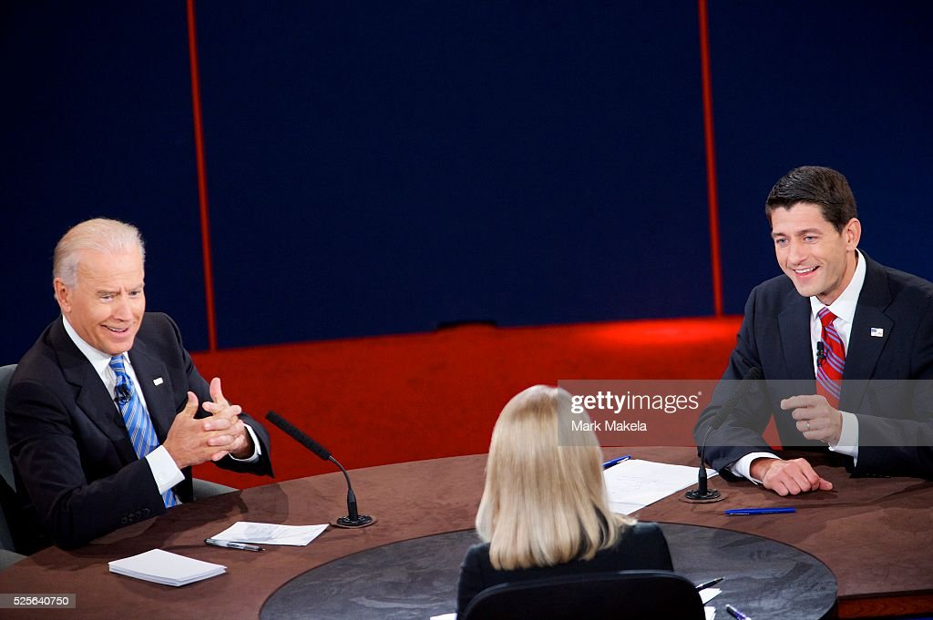 Vice President Joe Biden and Paul Ryan participate in the Vice Presidential Debate at Centre College in Danville Kentucky on October 11 2012