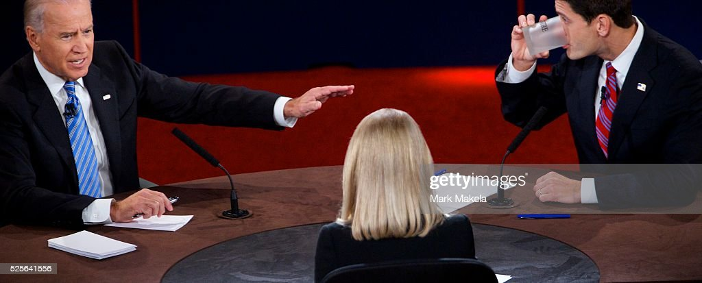Vice President Joe Biden and Paul Ryan participate in the Vice Presidential Debate at Centre College with Moderator ABC News Anchor Martha Raddatz in...