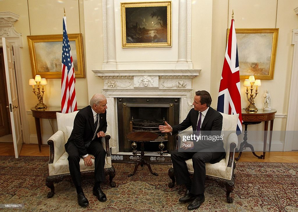 US Vice President Joe Biden and Prime Minister <a gi-track='captionPersonalityLinkClicked' href=/galleries/search?phrase=David+Cameron+-+Politician&family=editorial&specificpeople=227076 ng-click='$event.stopPropagation()'>David Cameron</a> pose prior to their meeting in Downing Street on February 5, 2013 in London, England. Mr Biden also held meetings with Deputy Prime Minister Nick Clegg during his European tour.