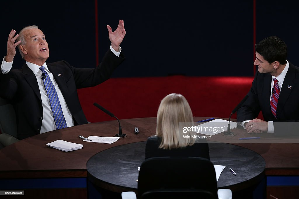 U.S. Vice President Joe Biden (L) and Republican vice presidential candidate U.S. Rep. Paul Ryan (R-WI) (R) participate in the vice presidential debate as moderator Martha Raddatz looks on at Centre College October 11, 2012 in Danville, Kentucky. This is the second of four debates during the presidential election season and the only debate between the vice presidential candidates before the closely-contested election November 6.