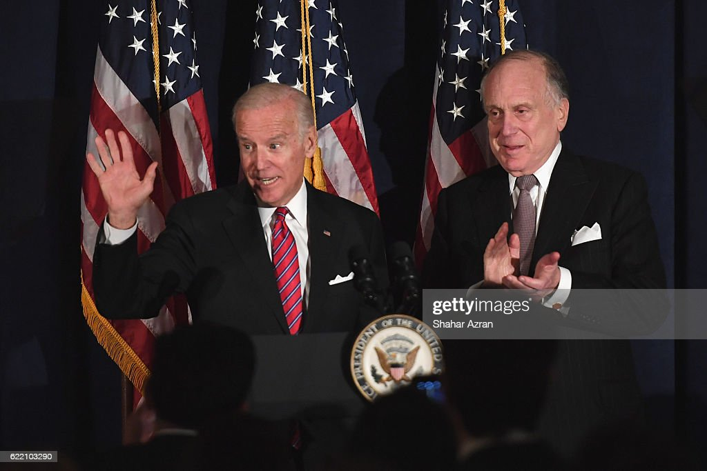 US Vice President Joe Biden and WJC World Jewish Congress President Ronald S. Lauder at the 2016 World Jewish Congress Herzl Award Dinner at The Pierre Hotel on November 9, 2016 in New York City.
