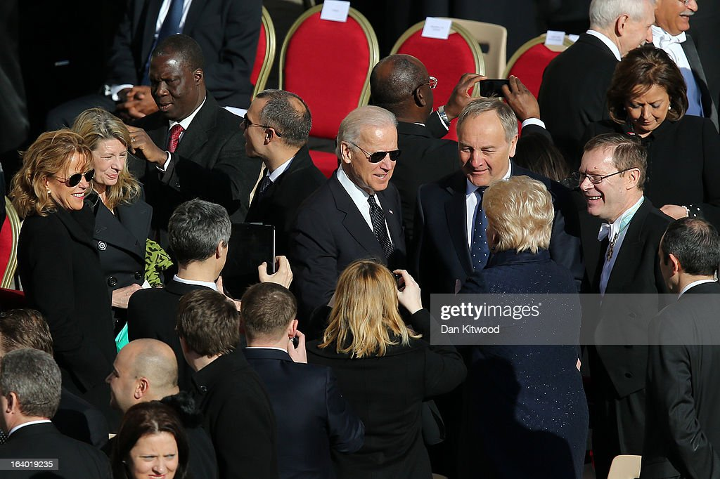 U.S. Vice President Joe Biden arrives at the Inauguration Mass for Pope Francis in St Peter's Square on March 19, 2013 in Vatican City, Vatican. The mass is being held in front of an expected crowd of up to one million pilgrims and faithful who have filled the square and the surrounding streets to see the former Cardinal of Buenos Aires officially take up his role as pontiff. Pope Francis' inauguration takes place in front of Cardinals and spiritual leaders as well as heads of state from around the world.