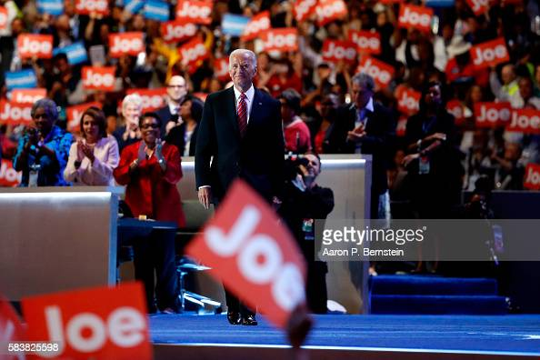 Vice President Joe Biden arrives on stage to deliver remarks on the third day of the Democratic National Convention at the Wells Fargo Center July 27...