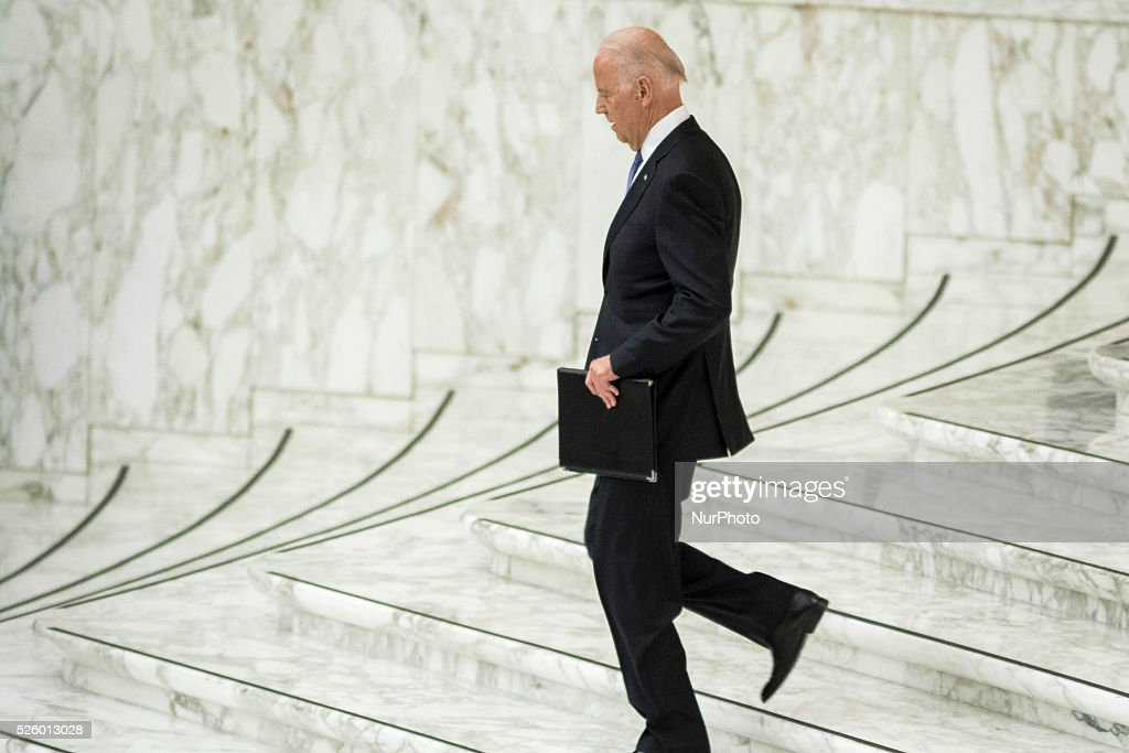 US Vice President Joe Biden arrives to deliver his speech at a special audience celebrates by Pope Francis with participants at a congress on the progress of regenerative medicine and its cultural impact in the Paul VI hall in Vatican City, Vatican on April 29, 2016.