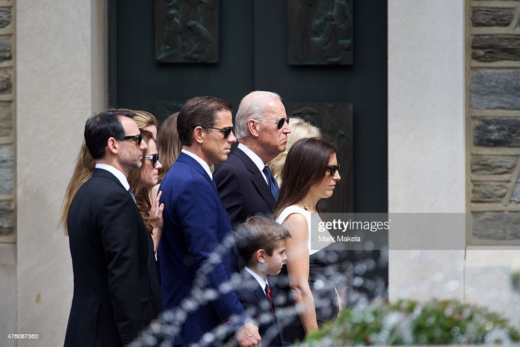 U.S. Vice President Joe Biden (C) arrives with family for a mass of Christian burial at St. Anthony of Padua Church for his son, former Delaware Attorney General <a gi-track='captionPersonalityLinkClicked' href=/galleries/search?phrase=Beau+Biden&family=editorial&specificpeople=997123 ng-click='$event.stopPropagation()'>Beau Biden</a>, on June 6, 2015 in Wilmington, Delaware. U.S. President Barack Obama is expected to deliver a eulogy for the son of Vice President Joe Biden after he died at 46 following a two-year battle with brain cancer.