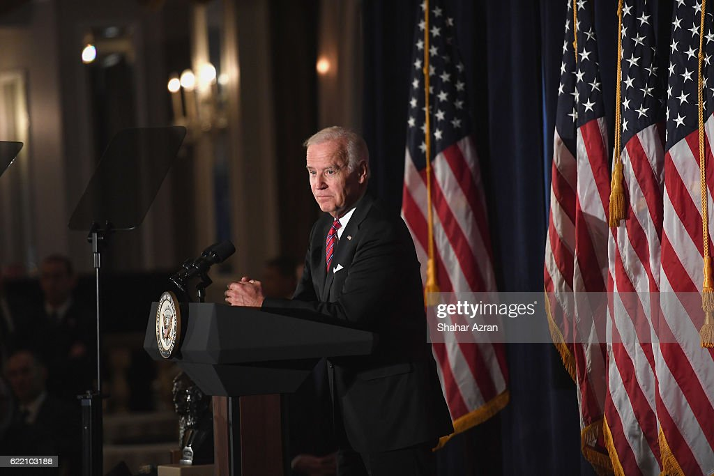 US Vice President Joe Biden at the 2016 World Jewish Congress Herzl Award Dinner at The Pierre Hotel on November 9, 2016 in New York City.