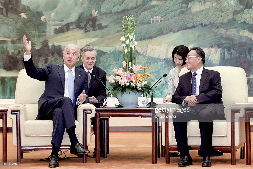 U.S. Vice President Joe Biden (L) attends a bilaterial meeting with NPC Chairman <a gi-track='captionPersonalityLinkClicked' href=/galleries/search?phrase=Wu+Bangguo&family=editorial&specificpeople=604934 ng-click='$event.stopPropagation()'>Wu Bangguo</a> (R) inside the Great Hall of the People on August 18, 2011 in Beijing, China. Biden will visit China, Mongolia and Japan from August 17-25.