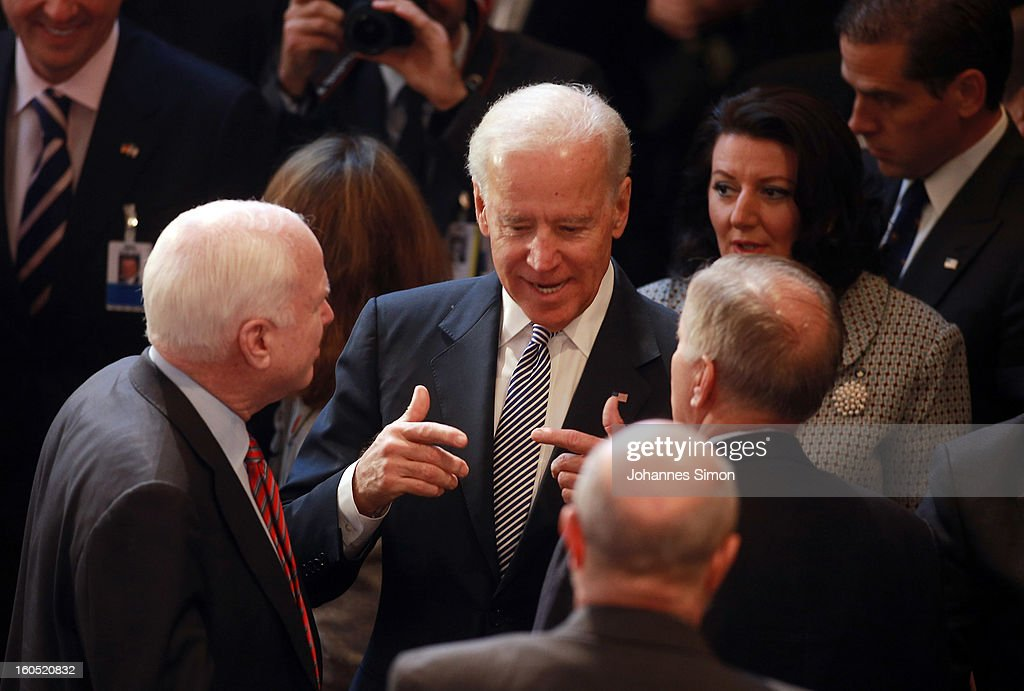 U.S. Vice President Joe Biden (C) chats with participants during day 2 of the 49th Munich Security Conference at Hotel Bayerischer Hof on February 2, 2013 in Munich, Germany. The Munich Security Conference brings together senior figures from around the world to engage in an intensive debate on current and future security challenges and remains the most important independent forum for the exchange of views by international security policy decision-makers.