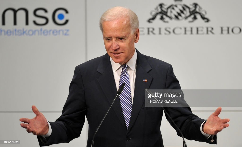 US Vice President Joe Biden delivers a speech at the Munich Security Conference on February 2, 2013 in Munich, southern Germany as world leaders, ministers and top military gather for talks with the spotlight on Syria, Mali and Iran.