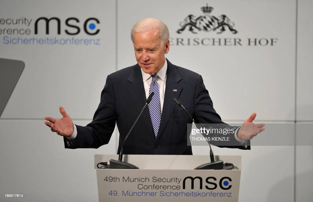 US Vice President Joe Biden delivers a speech at the Munich Security Conference on February 2, 2013 in Munich, southern Germany as world leaders, ministers and top military gather for talks with the spotlight on Syria, Mali and Iran. AFP PHOTO / THOMAS KIENZLE