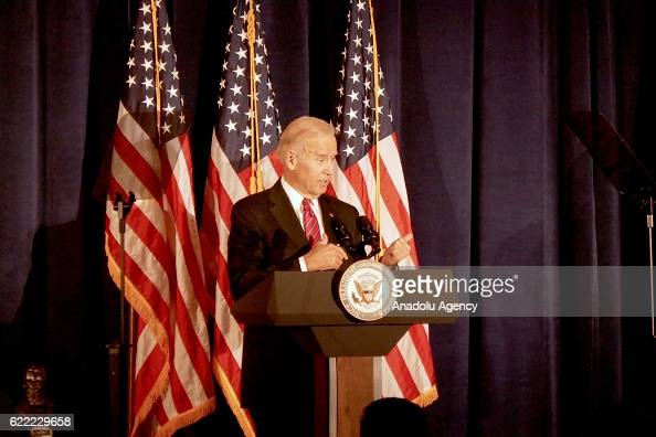 Vice President Joe Biden delivers a speech during a meeting of World Jewish Congress representing jewish communities in more than 100 countries at...