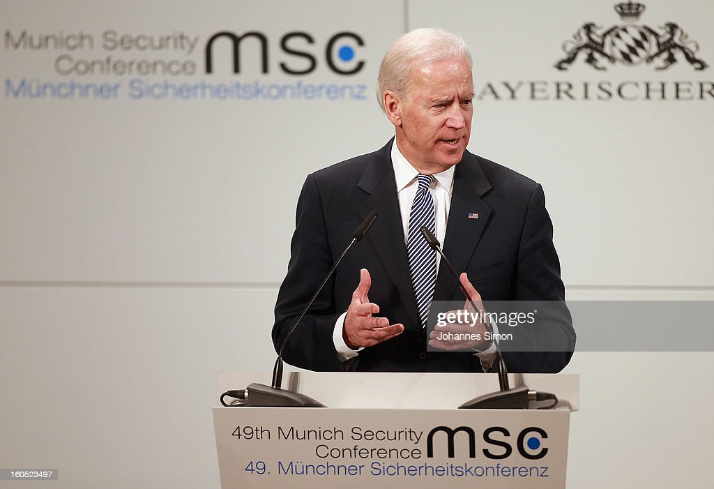 U.S. Vice President Joe Biden delivers his key note speech during day 2 of the 49th Munich Security Conference at Hotel Bayerischer Hof on February 2, 2013 in Munich, Germany. The Munich Security Conference brings together senior figures from around the world to engage in an intensive debate on current and future security challenges and remains the most important independent forum for the exchange of views by international security policy decision-makers.