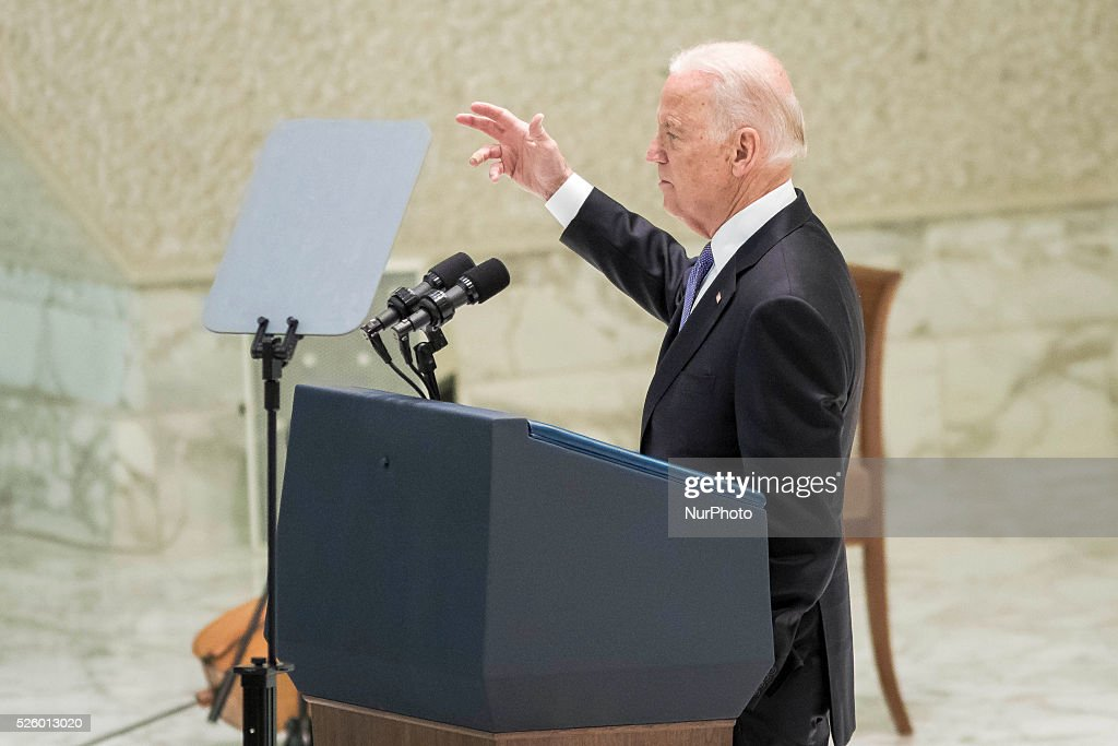 US Vice President Joe Biden delivers his speech at a special audience celebrates by Pope Francis with participants at a congress on the progress of regenerative medicine and its cultural impact in the Paul VI hall in Vatican City, Vatican on April 29, 2016.