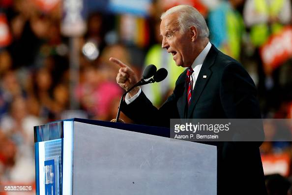 Vice President Joe Biden delivers remarks on the third day of the Democratic National Convention at the Wells Fargo Center July 27 2016 in...