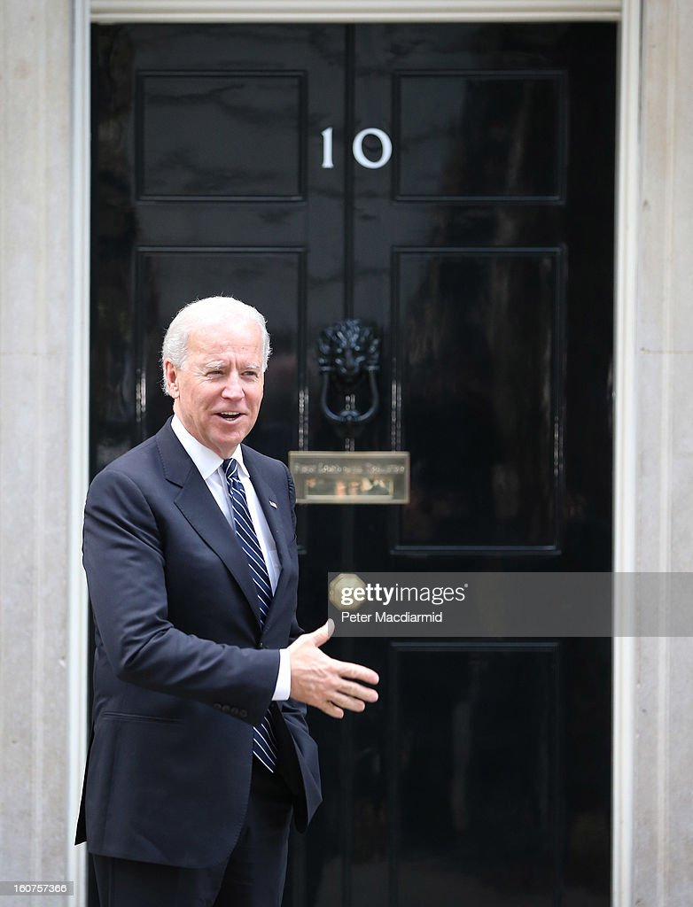 US Vice President Joe Biden gestures as he arrives in Downing Street on February 5, 2013 in London, England. Mr Biden is expected to hold meetings with Prime Minister David Cameron and Deputy Prime Minister Nick Clegg.