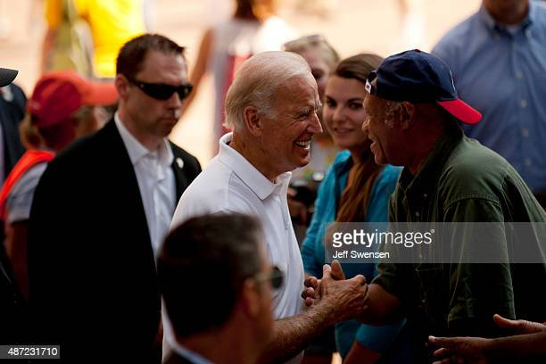 S Vice President Joe Biden greeting supporters during the annual Allegheny County Labor Day Parade Monday September 7 2015 in Pittsburgh Pennsylvania...