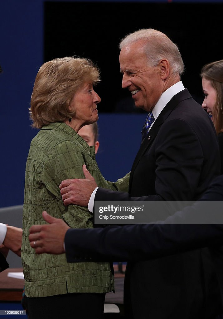 U.S. Vice President Joe Biden (L) greets Betty Douglas, mother of Paul Ryan after the vice presidential debate at Centre College October 11, 2012 in Danville, Kentucky. This is the second of four debates during the presidential election season and the only debate between the vice presidential candidates before the closely-contested election November 6.