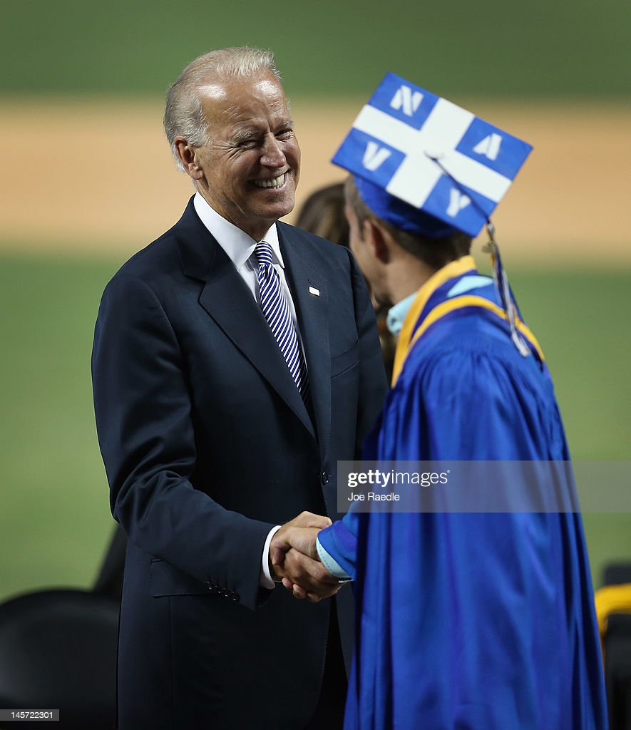 Vice President Joe Biden greets graduates during the commencement ceremony, where he spoke, for Cypress Bay High School graduates at Marlins Park on June 4, 2012 in Miami, Florida. With Florida being an important swing state in the national election both Biden and President Barack Obama along with the Republican challengers are expected to make more campaign appearances before voters head to the polls in November.