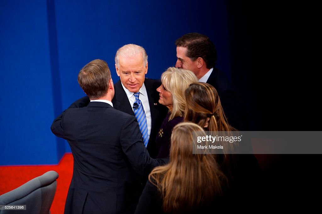 Vice President Joe Biden is greeted by his family after participating in the Vice Presidential Debate with Congressman Paul Ryan at Centre College in...