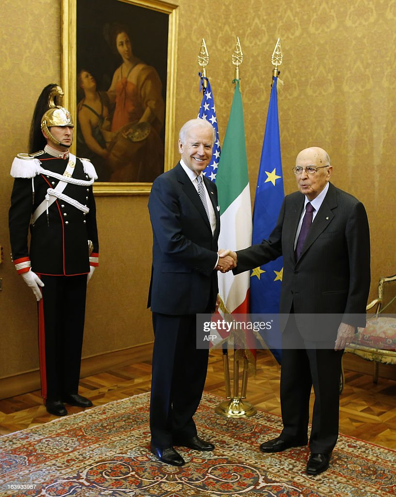 U.S. Vice President Joe Biden is greeted by Italy's President Giorgio Napolitano (R) at the Quirinale palace in Rome on March 18, 2013. Biden is in Italy to attend the inaugural mass of newly-elected Pope Francis, which is to be held at the Vatican on Tuesday.