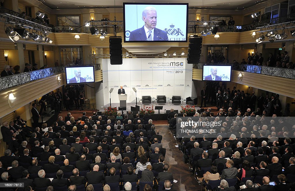 US Vice President Joe Biden is seen on screens as he delivers a speech at the Munich Security Conference on February 2, 2013 in Munich, southern Germany as world leaders, ministers and top military gather for talks with the spotlight on Syria, Mali and Iran.