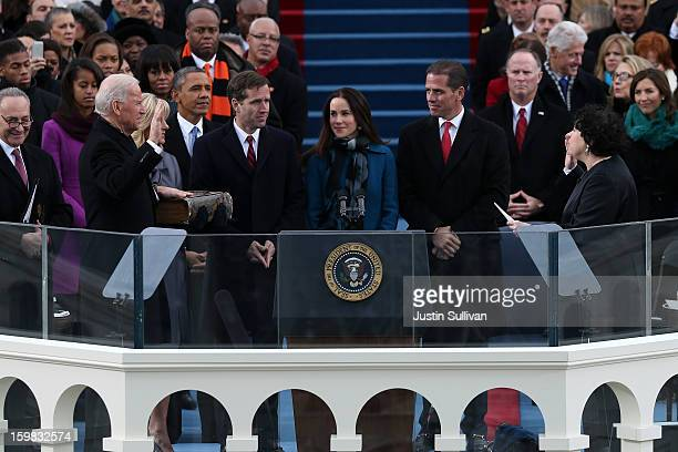 S Vice President Joe Biden is sworn in during the public ceremony by Supreme Court Justice Sonia Sotomayor during the presidential inauguration on...