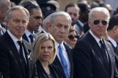 US Vice President Joe Biden Israeli Prime Minister Benjamin Netanyahu and his wife Sara and Former British Prime Minister Tony Blair during a state...