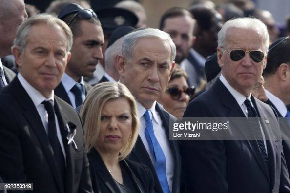US Vice President Joe Biden Israeli Prime Minister Benjamin Netanyahu and his wife Sara and Former British Prime Minister Tony Blair during a state...