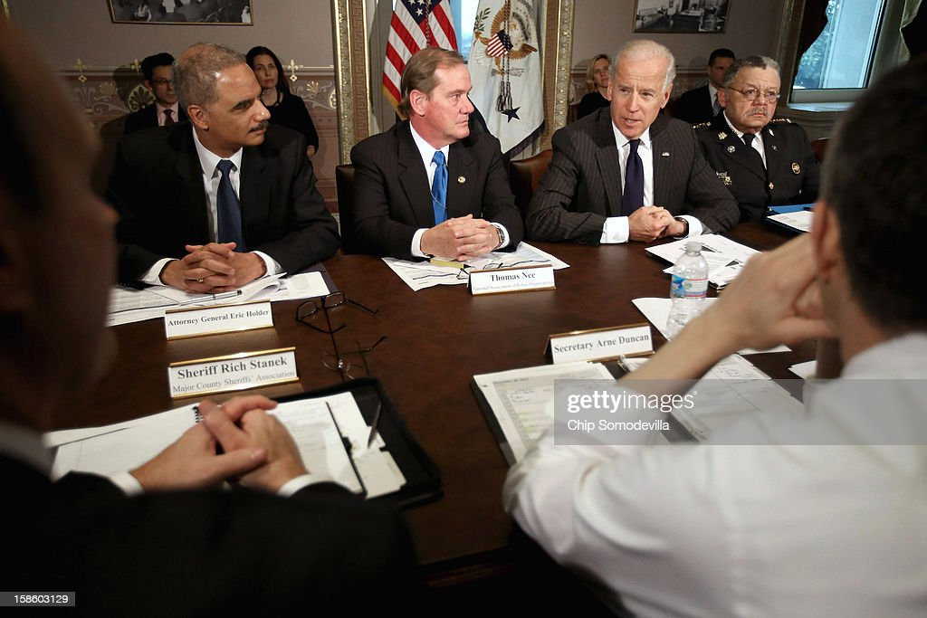 U.S. Vice President Joe Biden (2nd R) leads the first meeting of the working group to explore solutions following the Newtown massacre with (L-R) Attorney General <a gi-track='captionPersonalityLinkClicked' href=/galleries/search?phrase=Eric+Holder&family=editorial&specificpeople=1060367 ng-click='$event.stopPropagation()'>Eric Holder</a>, National Association of Police Organizations President Thomas Nee, Philadelphia Police Commissioner Charles Ramsey and other law enforcement leaders from around the country and administration officials in the Eisenhower Executive Office Building December 20, 2012 in Washington, DC. President Barack Obama put Biden at the head of the working group that was formed in the wake of the second-deadliest school shooting in U.S history.