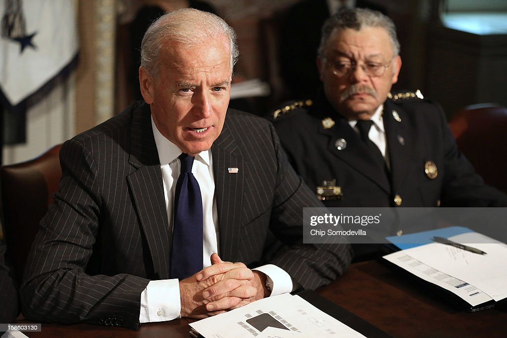U.S. Vice President Joe Biden (L) leads the first meeting of the working group to explore solutions following the Newtown massacre with Philadelphia Police Commissioner Charles Ramsey and other law enforcement leaders from around the country and administration officials in the Eisenhower Executive Office Building December 20, 2012 in Washington, DC. President Barack Obama put Biden at the head of the working group that was formed in the wake of the second-deadliest school shooting in U.S history.