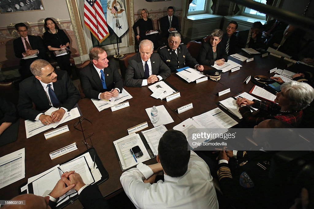 U.S. Vice President Joe Biden (C) leads the first meeting of the working group to explore solutions following the Newtown massacre with (L-R) Attorney General <a gi-track='captionPersonalityLinkClicked' href=/galleries/search?phrase=Eric+Holder&family=editorial&specificpeople=1060367 ng-click='$event.stopPropagation()'>Eric Holder</a>, National Association of Police Organizations President Thomas Nee, Philadelphia Police Commissioner Charles Ramsey, Homeland Security Secretary <a gi-track='captionPersonalityLinkClicked' href=/galleries/search?phrase=Janet+Napolitano&family=editorial&specificpeople=589781 ng-click='$event.stopPropagation()'>Janet Napolitano</a>, Vice President Chief of Staff Bruce Reed and other law enforcement leaders from around the country and administration officials in the Eisenhower Executive Office Building December 20, 2012 in Washington, DC. President Barack Obama put Biden at the head of the working group that was formed in the wake of the second-deadliest school shooting in U.S history.