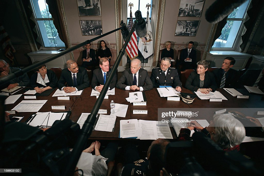 U.S. Vice President Joe Biden (C) leads the first meeting of the working group to explore solutions following the Newtown massacre with (L-R) National Troopers Coalition Chairman Mathew Hodapp, White House Senior Advisor <a gi-track='captionPersonalityLinkClicked' href=/galleries/search?phrase=Valerie+Jarrett&family=editorial&specificpeople=5003206 ng-click='$event.stopPropagation()'>Valerie Jarrett</a>, Attorney General <a gi-track='captionPersonalityLinkClicked' href=/galleries/search?phrase=Eric+Holder&family=editorial&specificpeople=1060367 ng-click='$event.stopPropagation()'>Eric Holder</a>, National Association of Police Organizations President Thomas Nee, Philadelphia Police Commissioner Charles Ramsey, Homeland Security Secretary <a gi-track='captionPersonalityLinkClicked' href=/galleries/search?phrase=Janet+Napolitano&family=editorial&specificpeople=589781 ng-click='$event.stopPropagation()'>Janet Napolitano</a>, Vice President Chief of Staff Bruce Reed and other law enforcement leaders from around the country and administration officials in the Eisenhower Executive Office Building December 20, 2012 in Washington, DC. President Barack Obama put Biden at the head of the working group that was formed in the wake of the second-deadliest school shooting in U.S history.