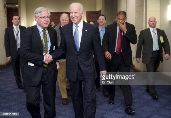 Vice President Joe Biden leaves the Capitol after meeting with the House Democrats on the fiscal cliff in the Capitol Visitor Center on Tuesday Jan 1...