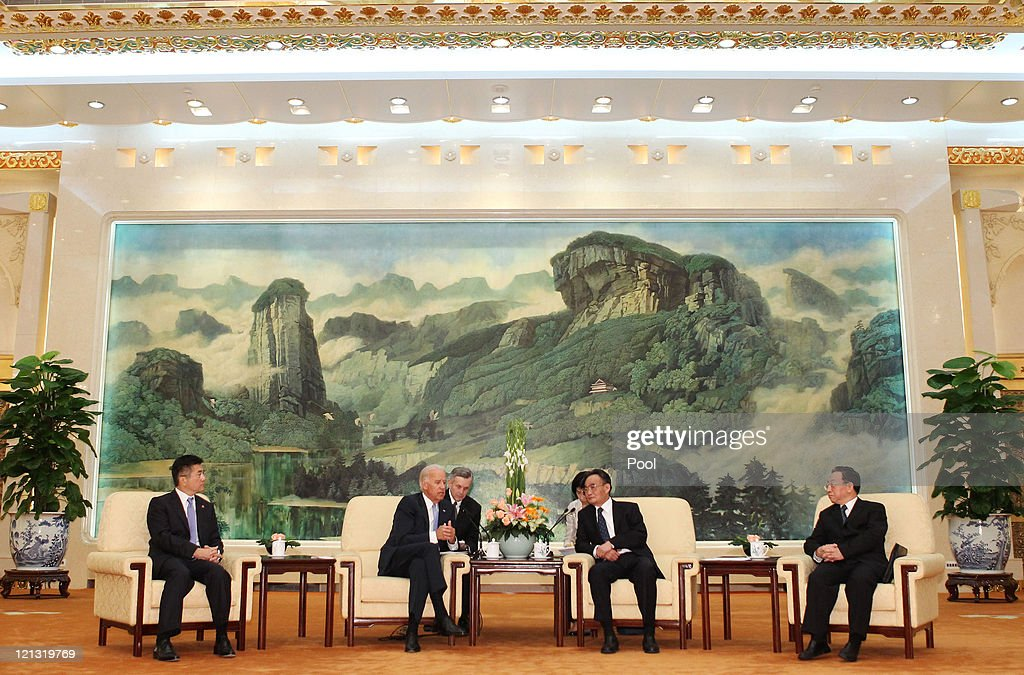 US Vice President Joe Biden (2ndL) meets Chinese National Peoples Congress Standing Committee Chairman <a gi-track='captionPersonalityLinkClicked' href=/galleries/search?phrase=Wu+Bangguo&family=editorial&specificpeople=604934 ng-click='$event.stopPropagation()'>Wu Bangguo</a> at the Great Hall of the People on August 18, 2011 in Beijing, China. Biden will visit China, Mongolia and Japan from August 17-25.