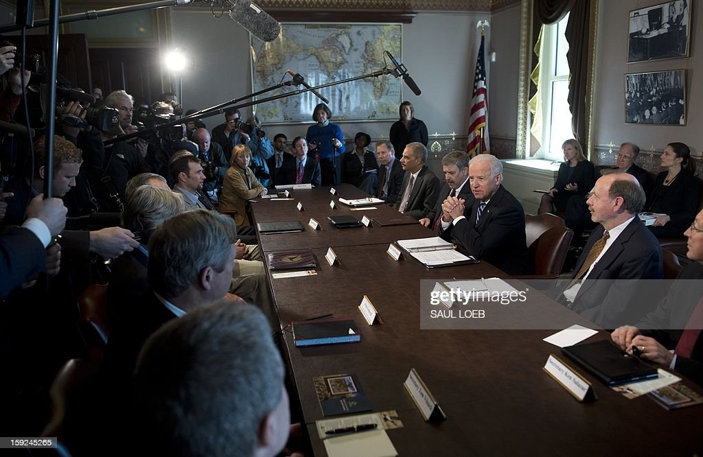 US Vice President Joe Biden meets with representatives of sport shooting and wildlife interest groups at the Eisenhower Executive Office Building adjacent to the White House in Washington, DC, on January 10, 2013. The meeting comes as US President Barack Obama's administration works to develop gun policy proposals following last month's mass shooting in Newtown, Connecticut. AFP PHOTO / Saul LOEB