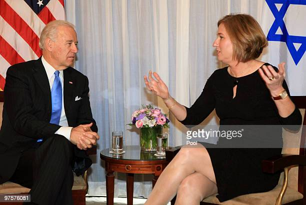 Vice President Joe Biden meets with the head of Israel's opposition Kadima party Tzipi Livni on March 9 2010 in Jerusalem Israel The American...