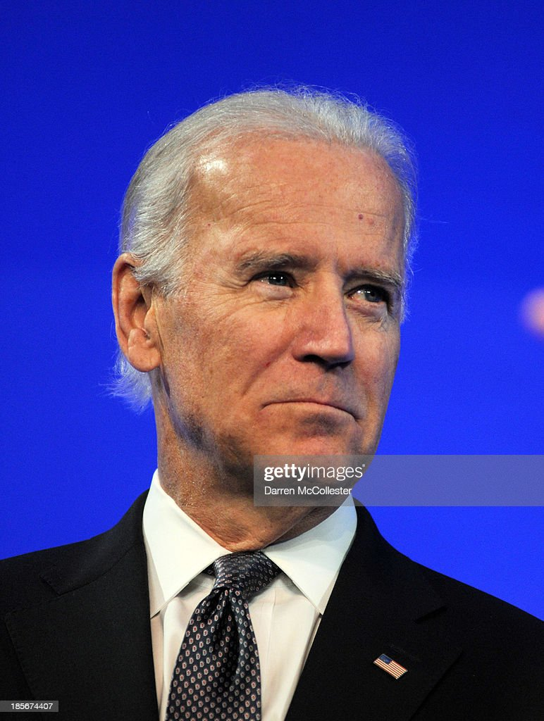 U.S. Vice President Joe Biden prepares to speak at a mental health forum at the John F. Kennedy Presidential Library and Museum October 23, 2013 in Boston, Massachusetts. The event event marks the 50th anniversary of President John F. Kennedy's signing of the Community Mental Health Act.