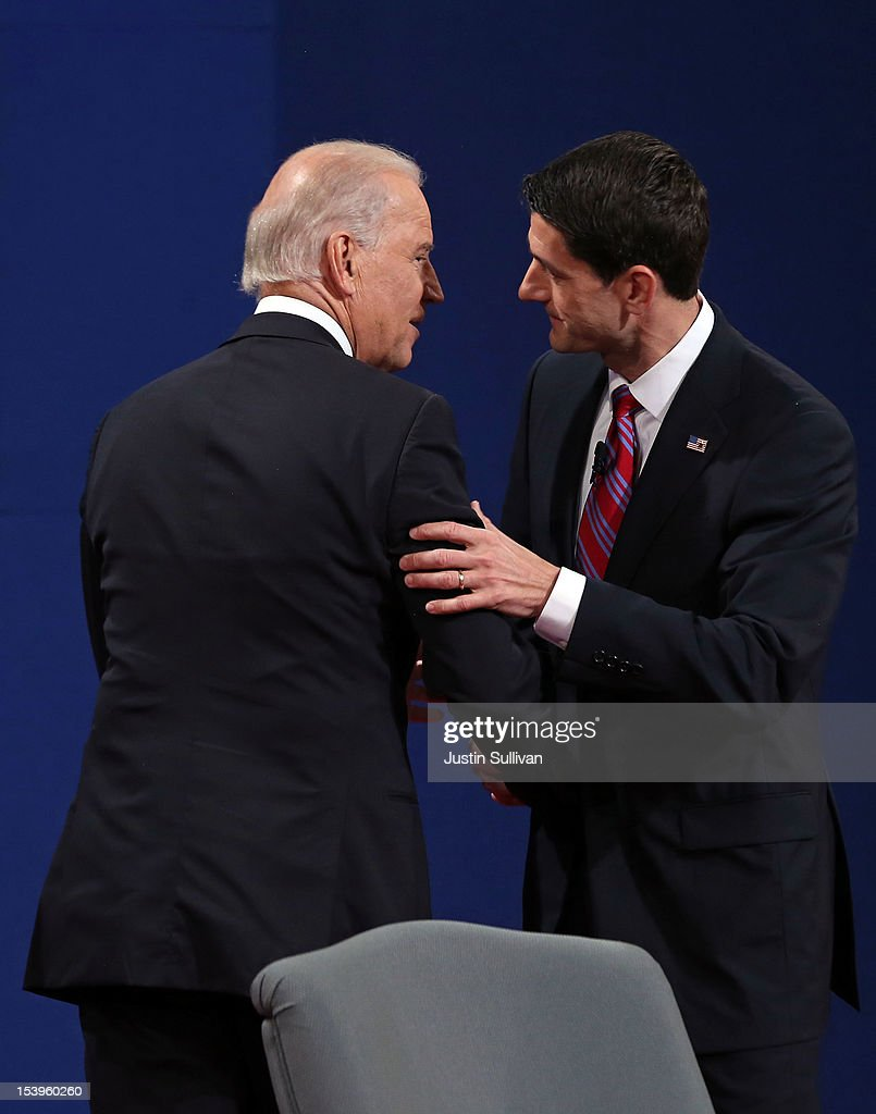 U.S. Vice President Joe Biden (L) shakes hands with Republican vice presidential candidate U.S. Rep. Paul Ryan (R-WI) (R) after the vice presidential debate at Centre College October 11, 2012 in Danville, Kentucky. This is the second of four debates during the presidential election season and the only debate between the vice presidential candidates before the closely-contested election November 6.