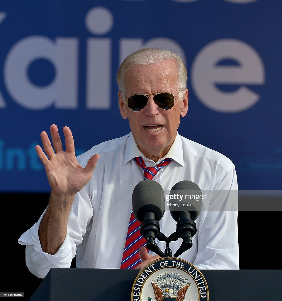 Vice President Joe Biden speak to supporters during a public campaign rally for 'Get Out The Early Vote' for Democratic presidential nominee Hillary Clinton at Palm Beach State College-Amphitheater (Center of Campus) on November 2, 2016 in Palm Beach Gardens, Florida. Vice President Biden will urge Floridians to take advantage of early voting right away with six day left for election.