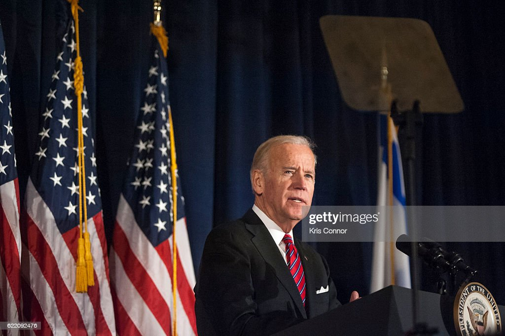 Vice President Joe Biden speaks after receiving the annual Theodor Herzl Award during the 2016 World Jewish Congress Herzl Award Dinner at The Pierre Hotel on November 9, 2016 in New York City.