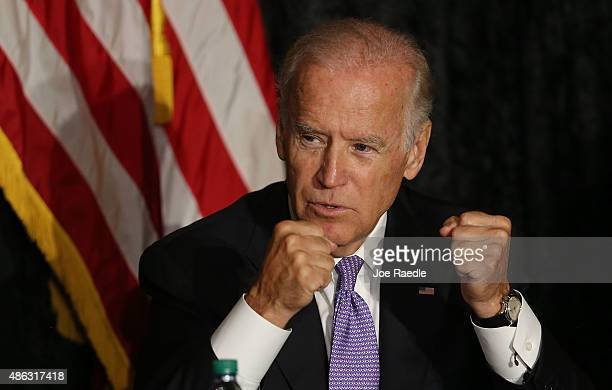 S Vice President Joe Biden speaks as he meets with Jewish community leaders at the David Posnack Jewish Community Center to discuss the nuclear deal...