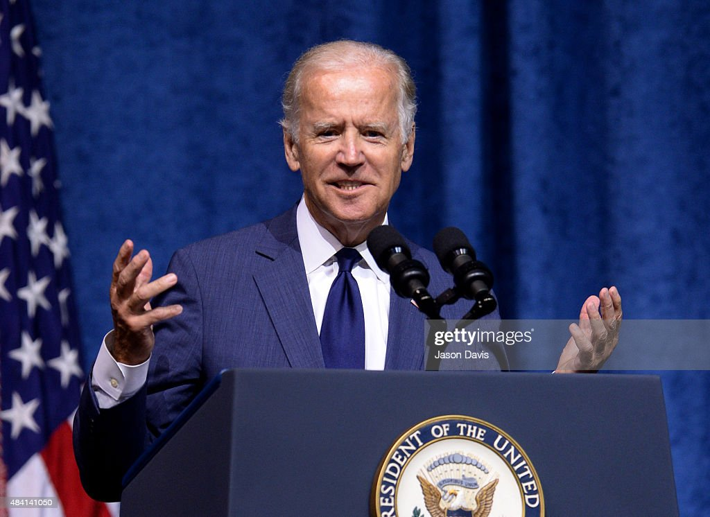 U.S. Vice President Joe Biden speaks at a memorial service to honor those killed In Chattanooga shooting at University of Tennessee at Chattanooga's McKenzie Arena on August 15, 2015 in Chattanooga, Tennessee. The military is putting on the ceremony to honor the sailor and four Marines killed and to say thank you to the men and women who helped responded when Mohammad Abdulazeez shot up a military recruitment center and a Navy operations support center before being killed by law enforcement,