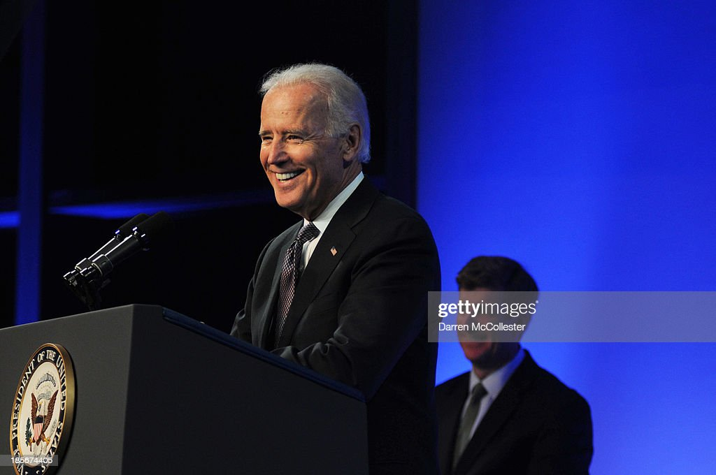 U.S. Vice President Joe Biden speaks at a mental health forum at the John F. Kennedy Presidential Library and Museum October 23, 2013 in Boston, Massachusetts. The event event marks the 50th anniversary of President John F. Kennedy's signing of the Community Mental Health Act.